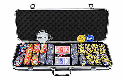 Monte Carlo Poker Chips Set - 14g 500 Piece Numbered Poker Set & Accessories