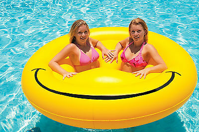 "Swimline Smiley Face Fun Island Swimming Pool Float 72"" Beach Party Raft"