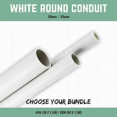 20Mm Or 25Mm White Plastic Round Conduit 1.5M Lengths 45M / 90M Cable Conduit