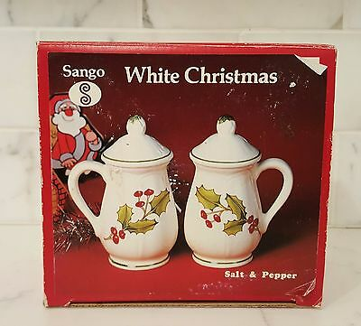 Sango White Christmas Holly Salt & Pepper Free Shipping