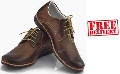 Brand New Mens Leather Casual Formal Lace Up Shoes Size 6 7 8 9 10 11 Warranty