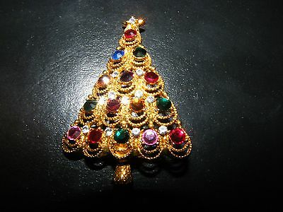 "EISENBERG ICE Multi-Stone Different Colors Christmas Tree PIN 2-1/4"" Tall"