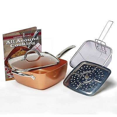 Tristar Products 4 Piece Chef Pan with Glass Lid Copper
