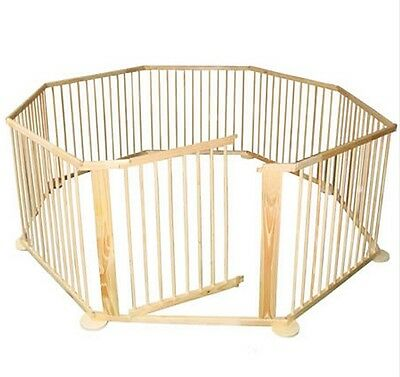 New Kids Baby Toddler Deluxe Wooden Large 8 Panel Playpen Divider - Woodgrain