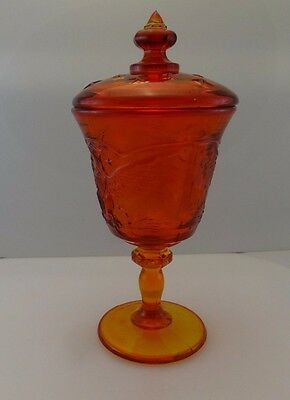 Vintage LE Smith Heritage Amberina Glass Eagle and Stars Candy Dish w/Lid