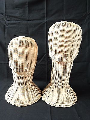 "12"", 14"" Vintage Wicker Head Holder Wig Glass Hat Display Stand Rattan Natural"