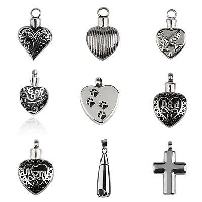 Silver Stainless Steel Cremation Pendant Necklace Ash Holder Keepsake Jewelry