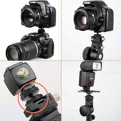 "Metal Pro 1/4"" Dual Nuts Tripod Mount Screw To Flash Camera Hot Shoe Adapter CND"