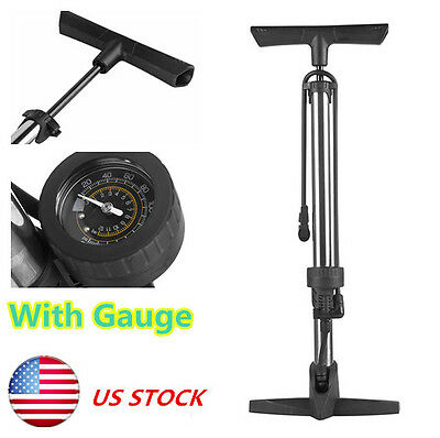 NEW Floor Pump Cycling High Pressure Bicycle Tire Inflator With Gauge Silver