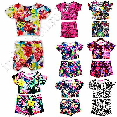 New Kids Girls Aztec Floral Printed Skort & Crop Top Set 7 8 9 10 11 12 13 Years