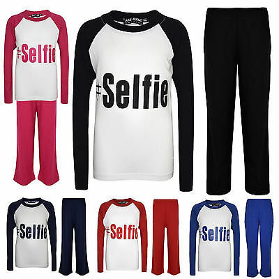 "Kids Girls Boys PJ's "" #SELFIE "" Printed Stylish Pyjamas New Age 5-13 Years"