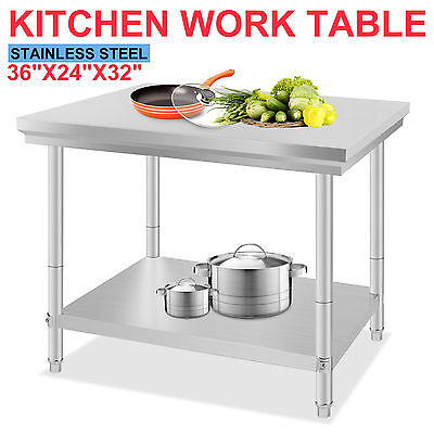 """Stainless Steel Commercial Kitchen Work Food Prep Table 24"""" x 36"""" NSF New"""