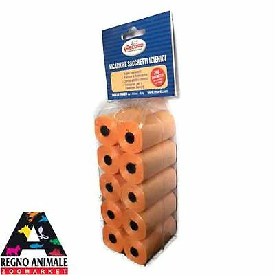 200 sacchetti igienici RICARICA colorati 10 rotoli RECORD dog waste clean-up bag