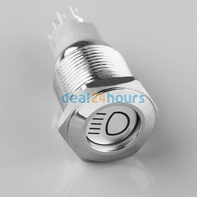 12V Car 16mm Self-locking Stainless Steel WaterProof Flat Push Button LED Switch