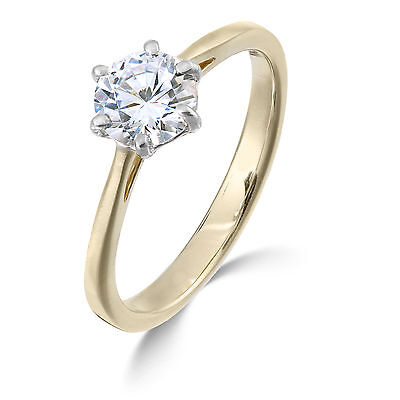 One carat diamond ring - Yellow Gold 18K  F SI clarity solitaire 1.00 carat