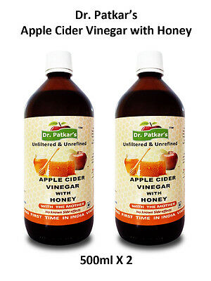 Dr Patkars Apple Cider Vinegar Raw and Unfiltered with Honey 500ml X2