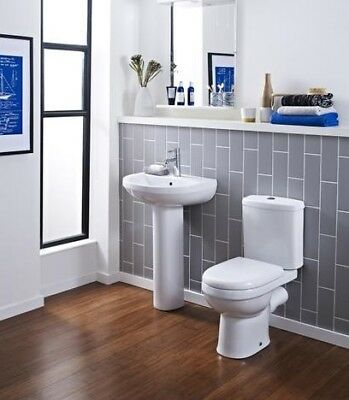 Premier Ivo Close Coupled Toilet and 555mm Basin Contemporary Suite