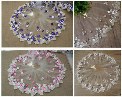 HB175 Floral Tulle Lace Trim Ribbon Fabric Flower Embroidery Wedding Trim Sewing