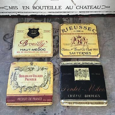 French Wine Label Tile Coasters, Set of 4, Shabby Chic Vintage Style Drinks Mats