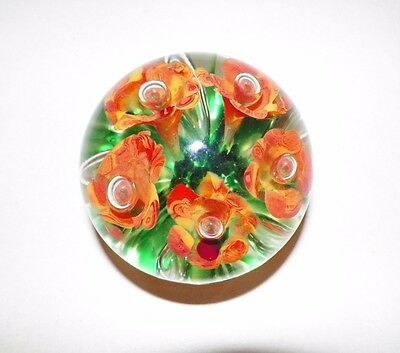 """Gibson Art Glass Paperweight Orange Flowers With Green & White 3 1/4"""""""