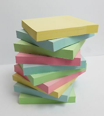 """Pastel Removable Sticky Post It Notes 76mm x 76mm 3 x 3"""" Individually Packed Pad"""