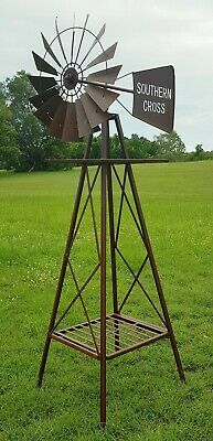 Heavy Duty Windmill Metal Iron Garden Ornament Sculpture Rustic Brown BIG 120 cm