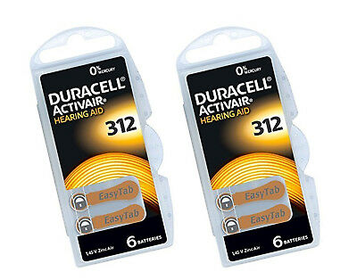 30 x Duracell 312 Hearing Aid Battery Activair 1.45v Zinc Air PR41 Mercury Free