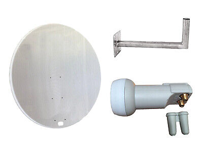 Universal 120CM Mesh Satellite Dish With Wall Mount & Twin LNB For Freeview