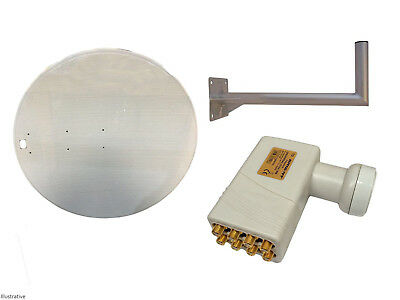 Universal 120CM Mesh Satellite Dish With Wall Mount & Octo LNB For Freeview