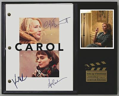Carol - Reprinted Autographed Movie Script Display - USA Ships Free