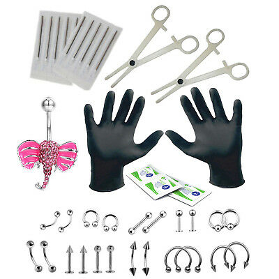 35 Pieces Professional Body Piercing Kit 16G and 14G Sunflower Belly Ring Tra...
