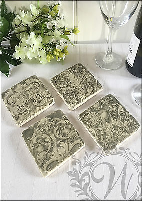 Antique Vintage French Country Coasters Ceramic Set Of 4 Aged Gift Shabby Chic