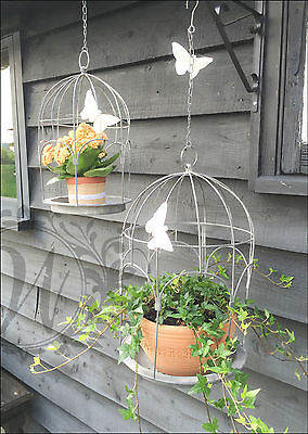 French Vintage Style Metal Garden Basket Hanging Wall Planters Planter Bird Cage