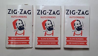 3 packs ZIG-ZAG KUTCORNERS SLOW BURNING 300 ROLLING PAPERS