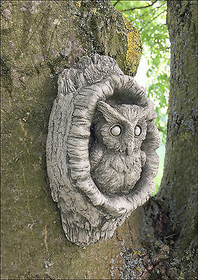 Owl Garden Decoration Ornament Wall Hanging Animal Gift Plaque Stone