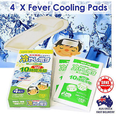 4x Fever Cool Cooling Relief Soft Patches Pads Plaster Cold Headache Made Japan
