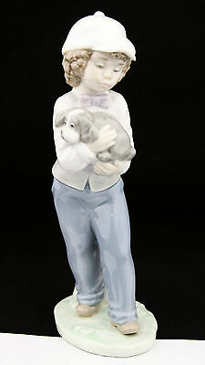 "Nao by Lladro Boy with Puppy Figurine Figure Spain Porcelain 1990 7.5"" High"