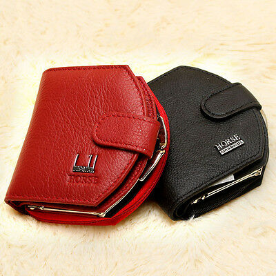 Women's Leather Bifold Wallet Small Card Coin Holder Portable Purse Clutch