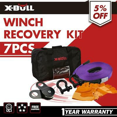 X-BULL Winch Recovery Kit 4WD Snatch Straps Bow Shackles Gloves Bag 4X4 Kit 7PCS
