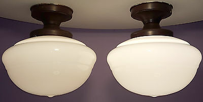 Vintage Schoolhouse Light Pair Large Old Institutional Ceiling Fixtures