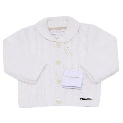 5154O cardigan bimbo bianco BURBERRY BABY sweaters jumpers kids