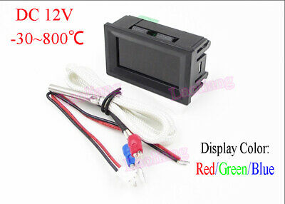 DC 12V -30~800℃ Digital Thermometer Temperature Test Panel Meter +K Thermocouple