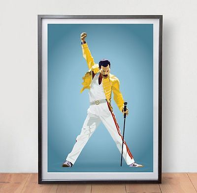Freddie Mercury Music Poster Rock Band Vintage Art Poster Retro Art Print