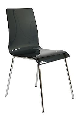 AVA CLEAR GEL ACRYLIC DINING CHAIR, black