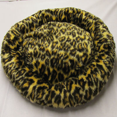 Handmade Doughnut Circular Leopard Faux Fur Pet Bed For Cats Or Small Dogs