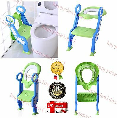 Baby Kids Child Toddler Potty Training Toilet Ladder Seat Steps Space Saving UK