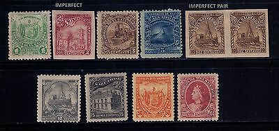 El Salvador stamps 1896 Coat of Arms SC# 146-152;156-157 Imperf Pair MH/Used