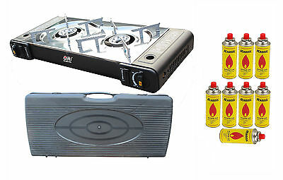 Portable Gas Stove 2 Burner Butane Camping Cooker Carry Case Outdoor PS-268 NEW