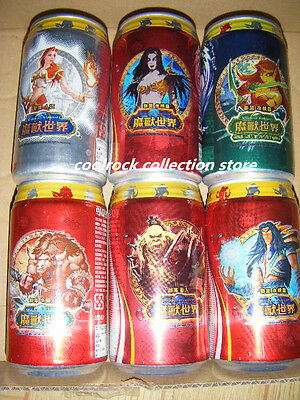 2006 Taiwan coca cola WORLD of WARCRAFT 6 cans set empty
