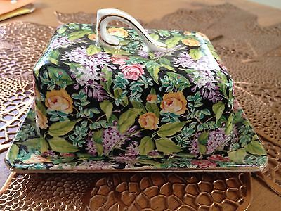 Chintz Lord Nelson Black Beauty Covered Cheese Dish Porcelain Floral Butter Rare